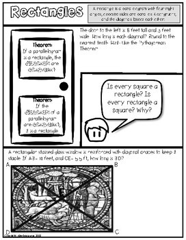Rectangle Theorems Doodle Notes or Graphic Organizer