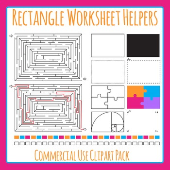 Rectangle Worksheet Helpers Clip Art Set for Commercial Use