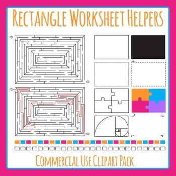 Rectangle Worksheet Helpers Clip Art Set for Commercial Use