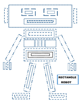 Rectangle, robot, tracing, fine motor skills, worksheet, fun, straight lines