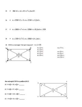 Rectangles, Rhombi, and Squares Worksheet