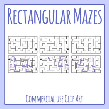 Rectangular Mazes Clip Art Set for Commercial Use