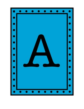 Rectangular Pennant/Word Wall with Polka Dot Borders - Blue