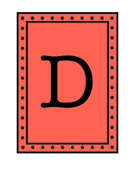 Rectangular Pennant/Word Wall with Polka Dot Borders - Red