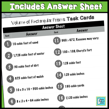 Rectangular Prism Volume Task Cards