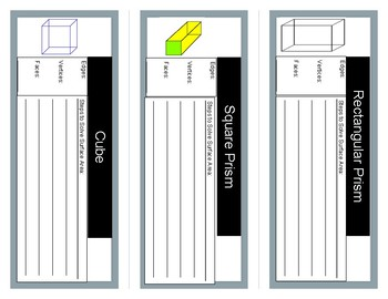 Surface Area- Rectangular Prisms Foldable Interactive Student Notebook