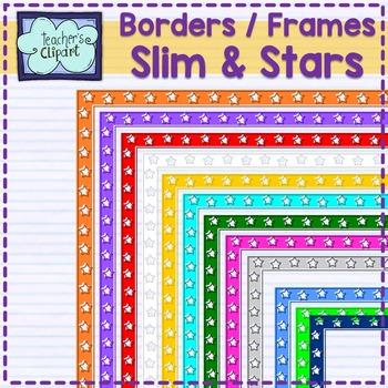 Rectangular Slim and stars frames - borders Clip art