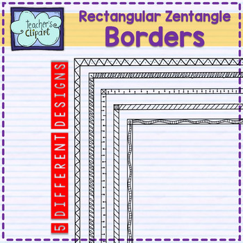 Rectangular Zentangles Frames - borders Clip art