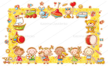 Rectangular frame with cartoon kids, toys and sweets
