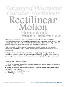Rectilinear Motion Homework with Solutions