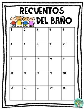 Recuentos de Baño - SPANISH BATHROOM TALLY - FREEBIE
