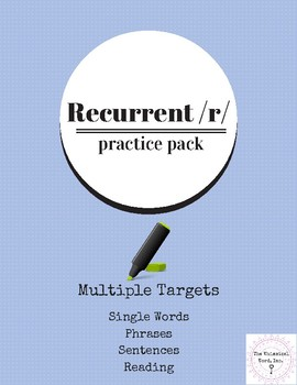 Recurrent R Practice Pack Speech Therapy Teletherapy NO PRINT
