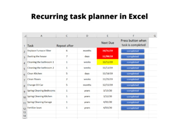 Recurring Task Planner in Excel