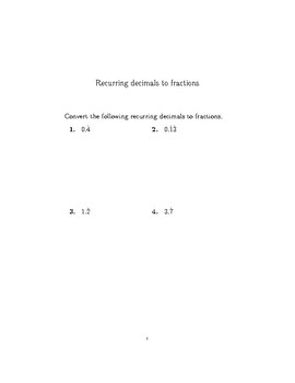 Recurring decimals to fractions 2