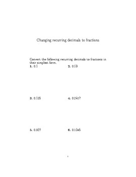 Recurring decimals to fractions worksheet (with detailed solutions)