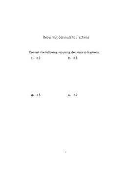 recurring decimals worksheet with detailed solutions by math w recurring decimals worksheet with detailed solutions
