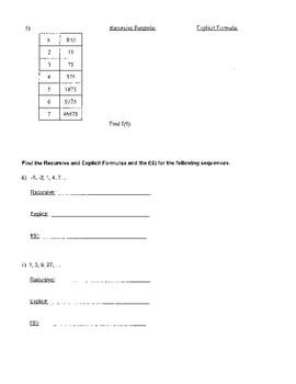 Recursive & Explicit Functions (Formulas) Quiz