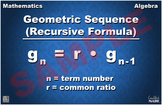 Recursive Formula for Geometric Sequences Math Poster