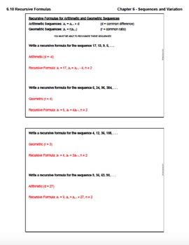 Recursive Formulas (Lesson Plan with Homework)