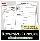 Recursive Formulas Foldable for Study and Homework