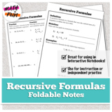 Recursive Formulas Foldable for Study and Homework