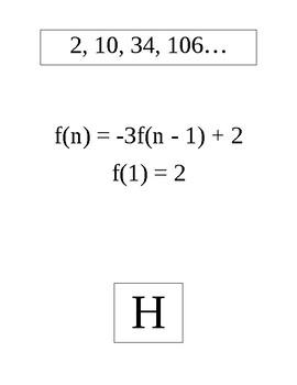 Recursive Formulas Sequences Scavenger Hunt