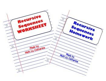 Recursive Sequences Worksheet and Homework Worksheet Package