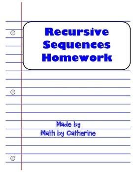 Recursive Sequences Homework Worksheet