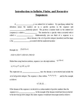 Recursive Sequences Notes - PreCalculus