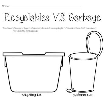 Recyclables VS Garbage Worksheet