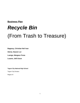 Recycle Bin: A Business Proposal