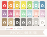 Recycle Bin Clipart; Recycling, Eco Friendly, Trash Can, Earth Day