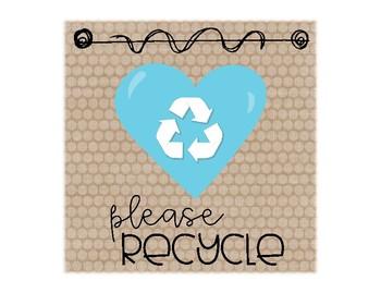 Recycle Bin Label ~ Burlap