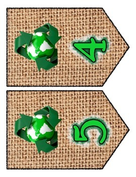 Recycle Earth Day Chevron / Banner Set - Any Message - all Letters & Numbers