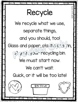 Recycle - Printable Earth Day Poem for Kids