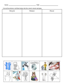 Recycling - Recycle, Reduce and Reuse -T Chart and Test