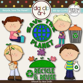 Recycle, Save The Planet 1-  Digi Clip Art - CU Clip Art
