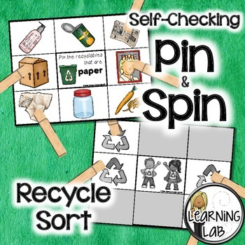 Recycle Sort - A Pin & Spin Activity (Earth Day)