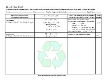 Student Forms for Math Test Corrections