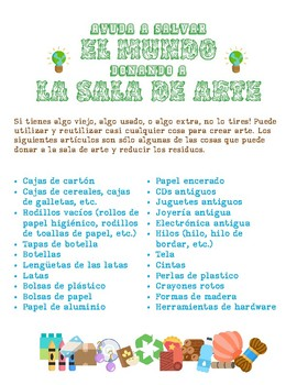 Recycle and Donate to the Art Room Flyers (English and Spanish)
