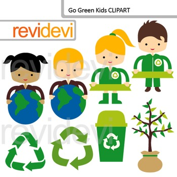 Recycle and Go Green Clip art / Earth day theme clipart