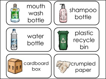 Recycle themed Picture Word Flash Cards.