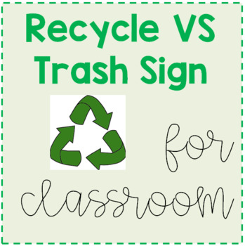 Recycle vs. Trash Sign for Classroom