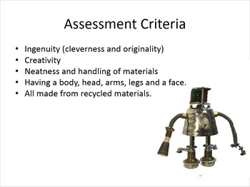 Recycled Art Junk Robot Presentation