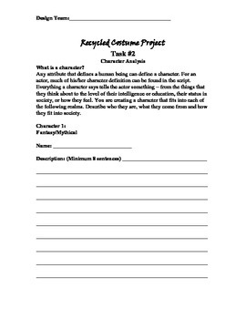 Recycled Costume Project Packet