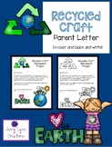 Recycled Craft Parent Letter