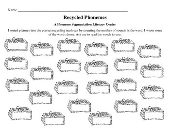 Recycled Sounds - A Phoneme Segmentation Activity/Game/Center