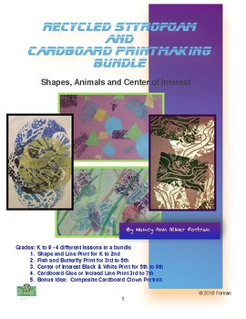 Recycled Styrofoam and Cardboard Printmaking Visual Arts Lessons for K to 9