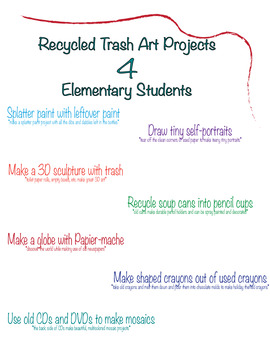 Recycled Trash Art Projects for Elementary Students