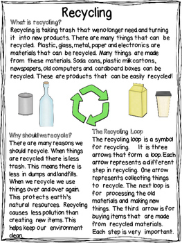 Recycling | Differentiated Texts | Earth Day Nonfiction